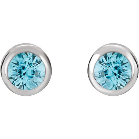 Bezel-Set Blue Zircon Stud Earrings - Moijey Fine Jewelry and Diamonds