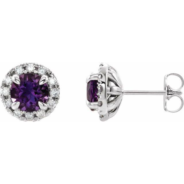 Amethyst & 1/3 CTW Diamond Halo Stud Earrings