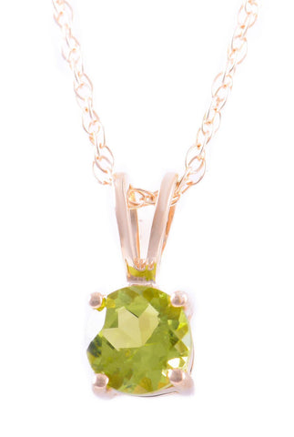 14k Yellow Gold Peridot Pendant With Chain