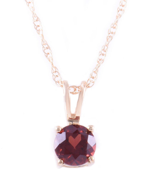 14K Yellow Gold Garnet Pendant With Chain
