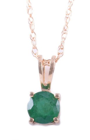 14k Yellow Gold Emerald Pendant with Chain