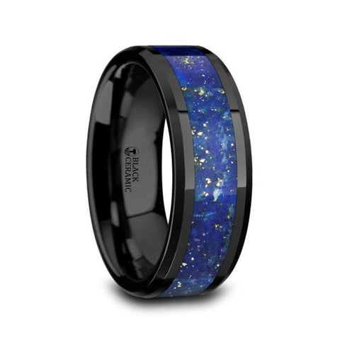 Polished Black Ceramic Wedding Band with Blue Lapis Inlay & Beveled Edges