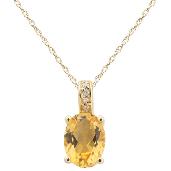 14k Yellow Gold Diamond and Citrine Pendant With Chain