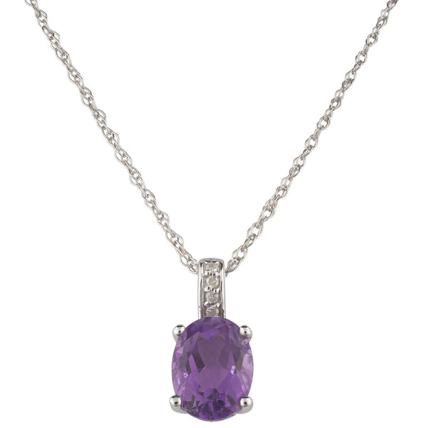 14k White Gold Diamond and Amethyst Pendant With Chain