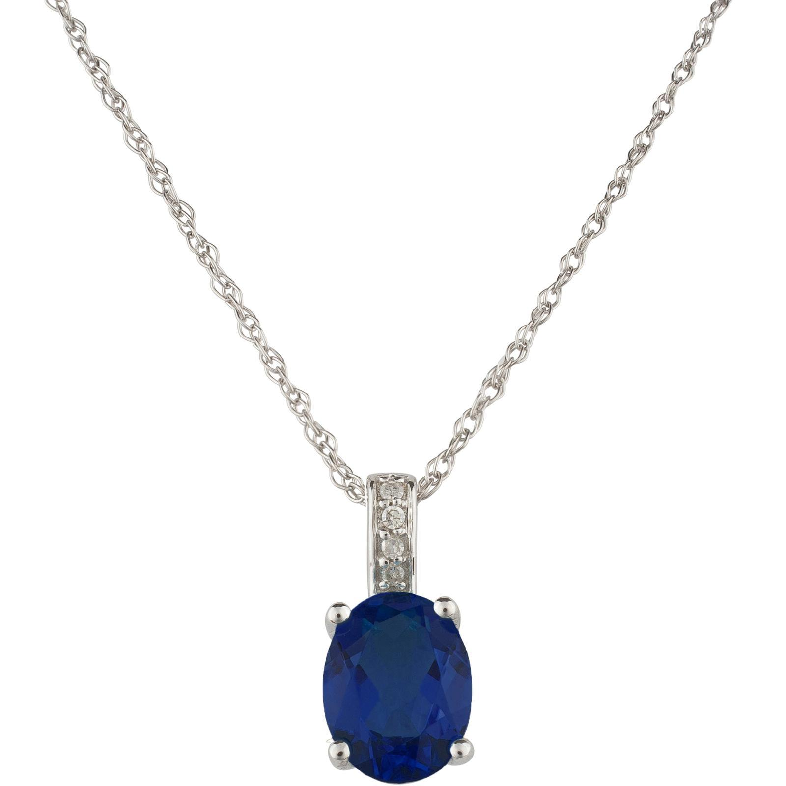 14k White Gold Diamond and Sapphire Pendant With Chain