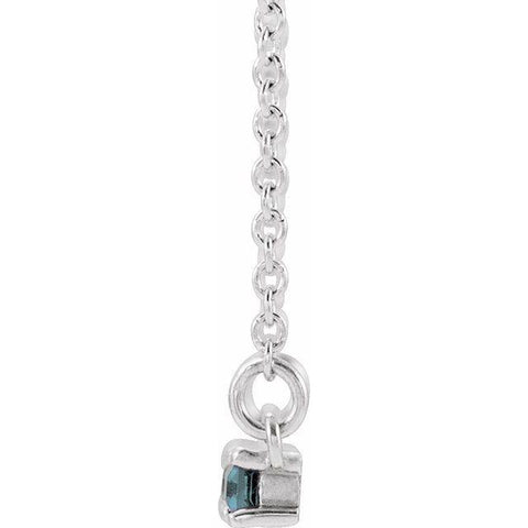"Aquamarine & 1/5 CTW Diamond Bar 16-18"" Necklace - Moijey Fine Jewelry and Diamonds"