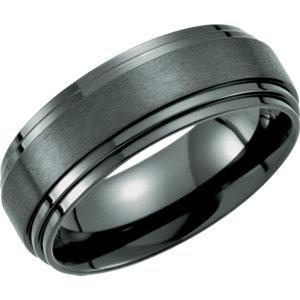 Double Ridged Black Titanium Band