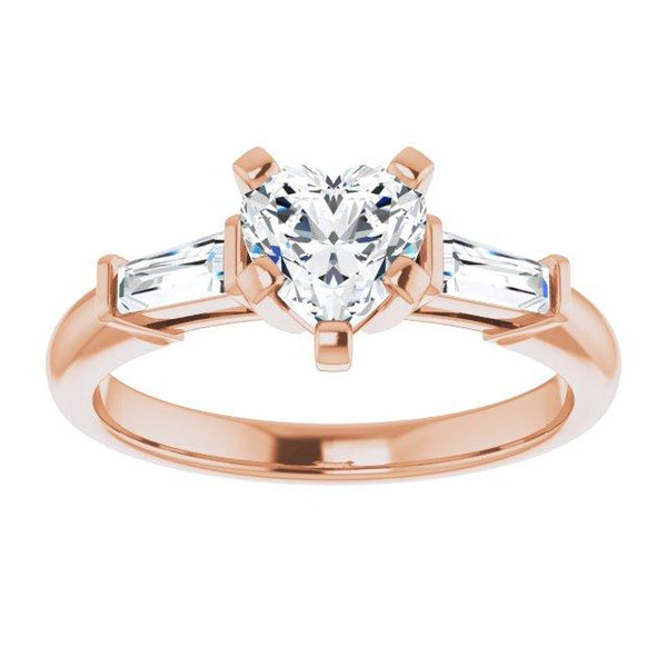 14k 6x6 mm hearted three stone engagement ring