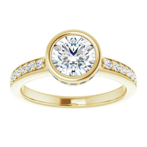 Bezel 6.5 mm Round Engagement Ring Mounting - Moijey Fine Jewelry and Diamonds