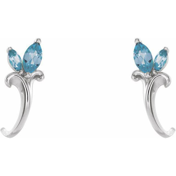 Aquamarine Floral-Inspired J-Hoop Earrings - Moijey Fine Jewelry and Diamonds