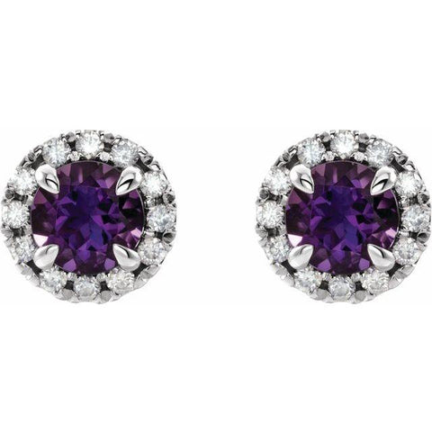 Amethyst & 1/3 CTW Diamond Halo Stud Earrings - Moijey Fine Jewelry and Diamonds