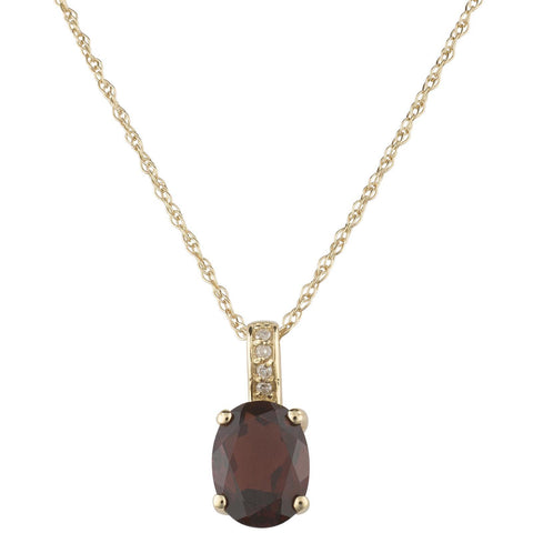 14k Yellow Gold Diamond and Smokey Quartz Pendant With Chain