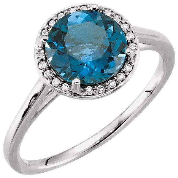 London Blue Topaz & .05 CTW Diamond Halo Ring