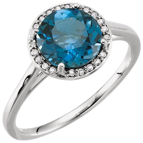 London Blue Topaz & .05 CTW Diamond Halo Ring - Moijey Fine Jewelry and Diamonds