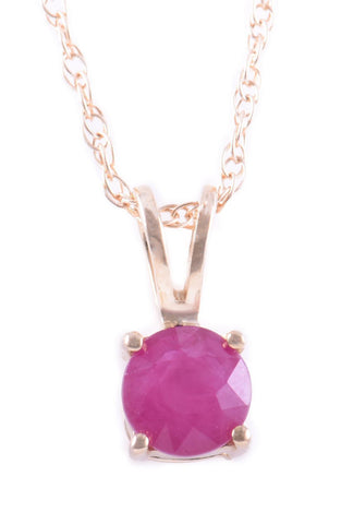 14k Yellow Gold Ruby Pendant With Chain