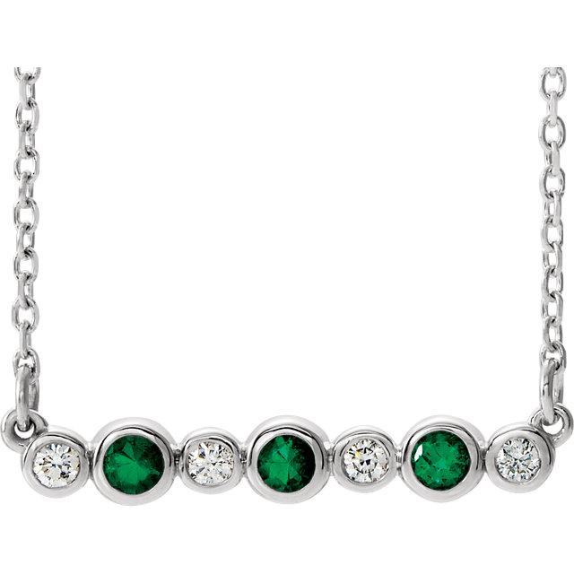 "Emerald & .08 CTW Diamond Bezel-Set Bar 16-18"" Necklace"