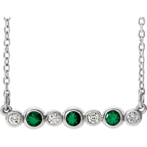 emerald diamond bar necklace | bezel set emerald necklace | emerald diamond bezel set bar necklace