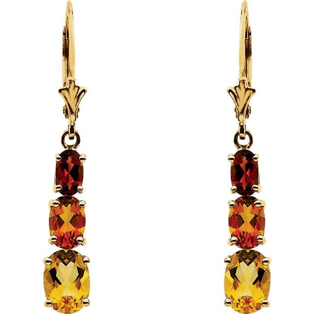 14kt Yellow Gold Citrine Drop Earrings