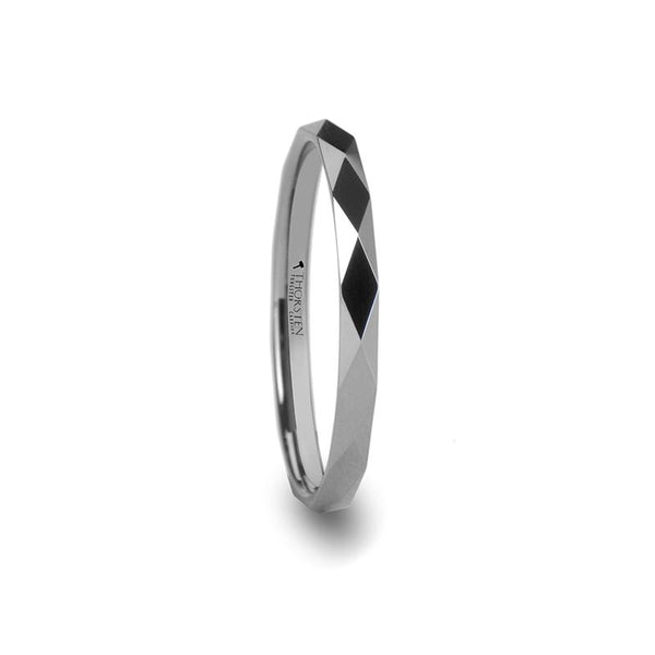 Tungsten Carbide Diamond Faceted Ring