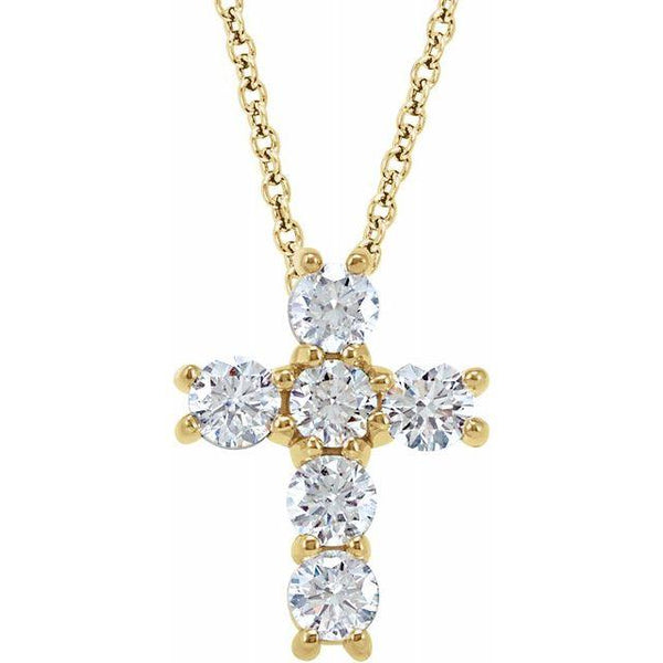 14K. Yellow Gold with 1/2 Diamond Cross necklace
