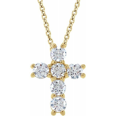 14K. Yellow Gold with 1/2 Diamond Cross necklace - Moijey Fine Jewelry and Diamonds