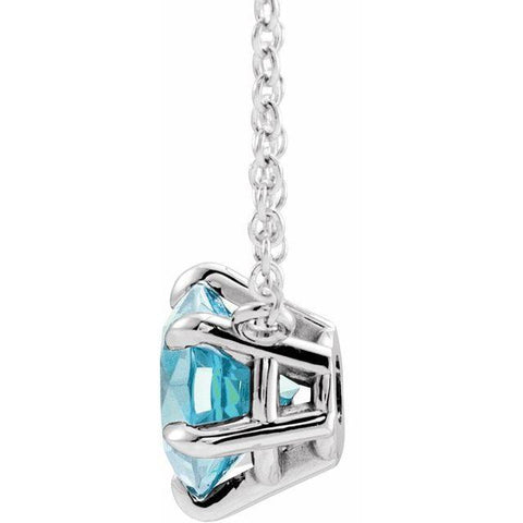Aquamarine Solitaire 18'' Necklace - Moijey Fine Jewelry and Diamonds