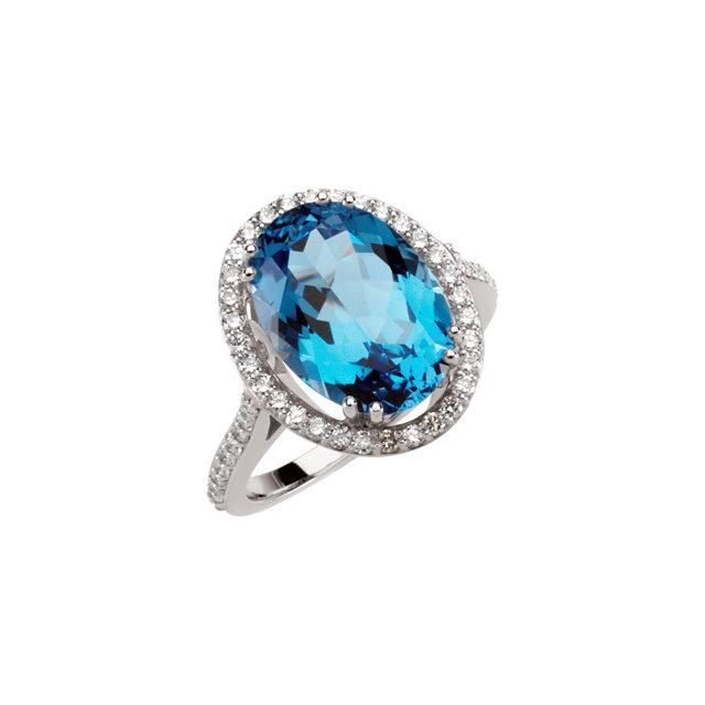 Swiss Blue Topaz and Diamond Halo Cocktail Ring