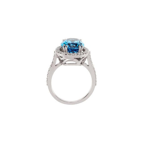 swiss blue topaz ring | diamond cocktail halo rings | swiss blue topaz halo diamond cocktail ring