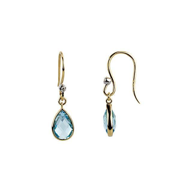 14K Yellow Gold Swiss Blue Topaz & Diamond Earrings