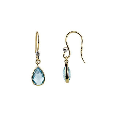 14K Yellow Gold Swiss Blue Topaz & Diamond Earrings - Moijey Fine Jewelry and Diamonds