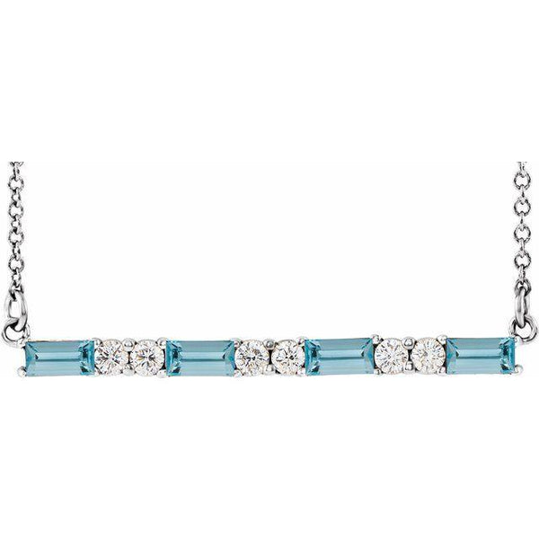 "Aquamarine & 1/5 CTW Diamond Bar 16-18"" Necklace"
