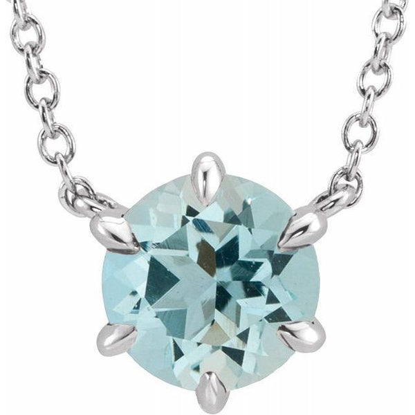 Aquamarine Solitaire 18'' Necklace