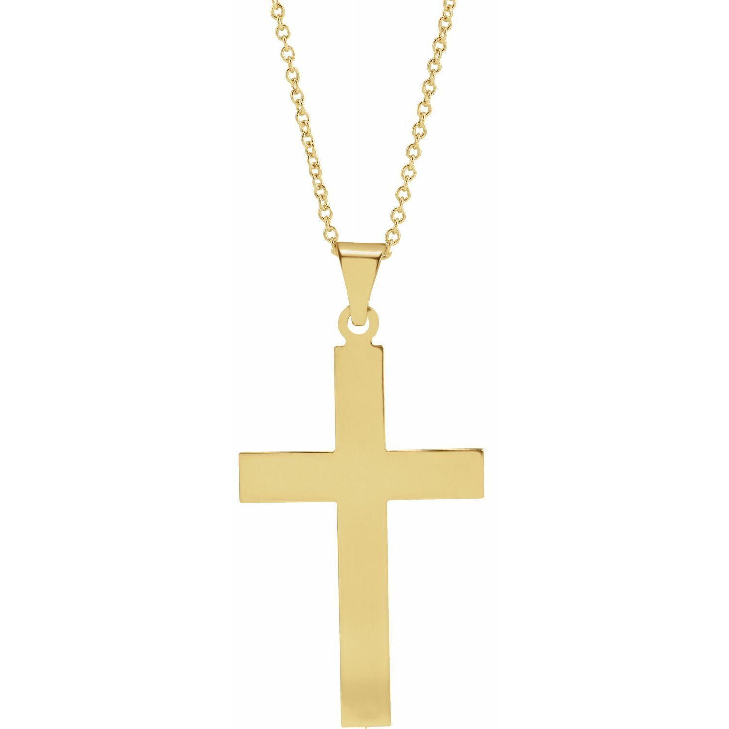 14K Yellow 28 x 18 mm Cross Necklace