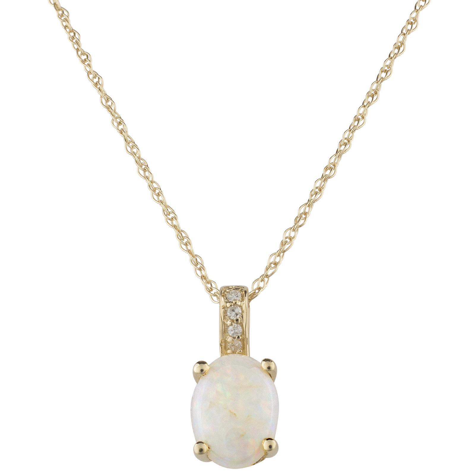 14k Gold and Diamond Opal Necklace