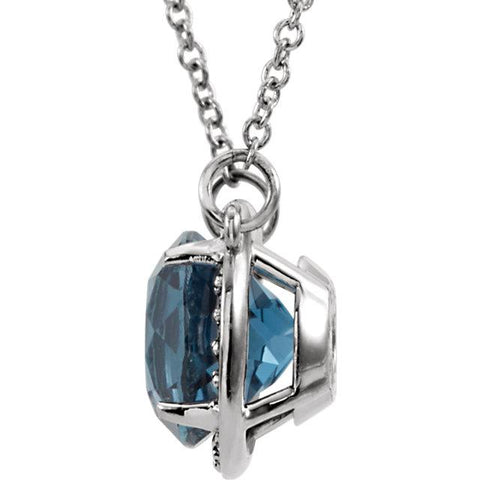"Round London Blue Topaz & .04 CTW Diamond Halo 16"" Necklace - Moijey Fine Jewelry and Diamonds"