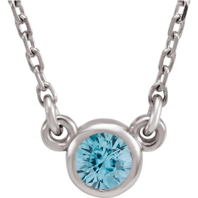 Blue Zircon Bezel-Set Necklace
