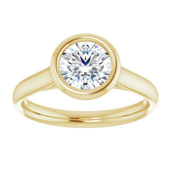 Bezel Solitaire Engagement Ring Mounting - Moijey Fine Jewelry and Diamonds
