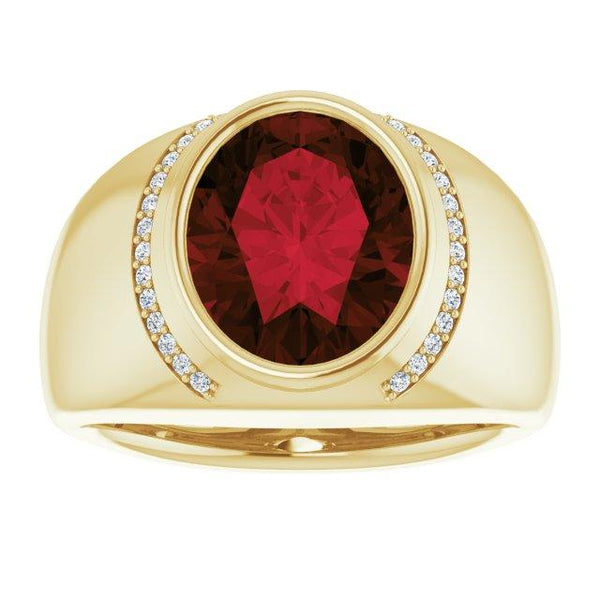 Mozambique Garnet & Diamond Bezel-Set Ring