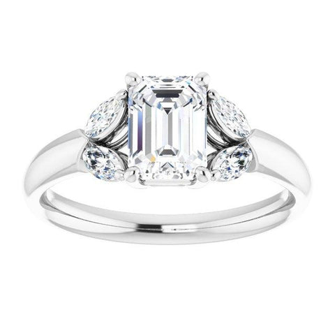 Vintage Emerald-Cut and Marquise-Accent Engagement Ring Setting