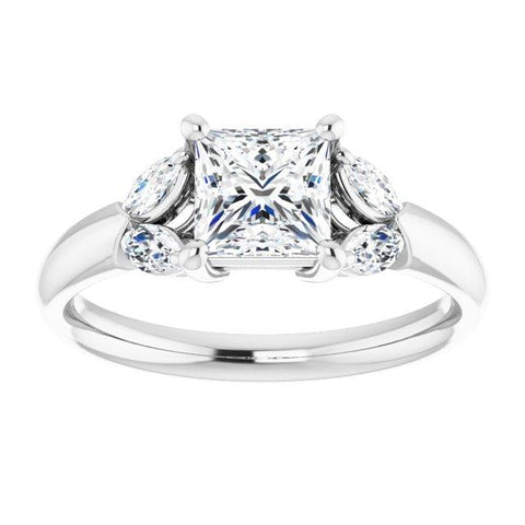 Vintage Princess-Cut Engagement Ring Setting