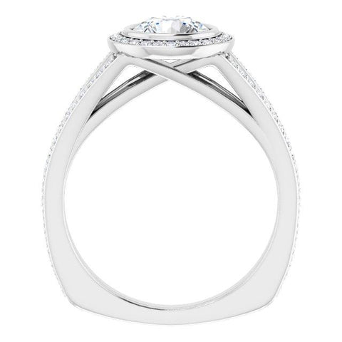 Bezel-Set Halo-Style Engagement Ring Round Mounting - Moijey Fine Jewelry and Diamonds