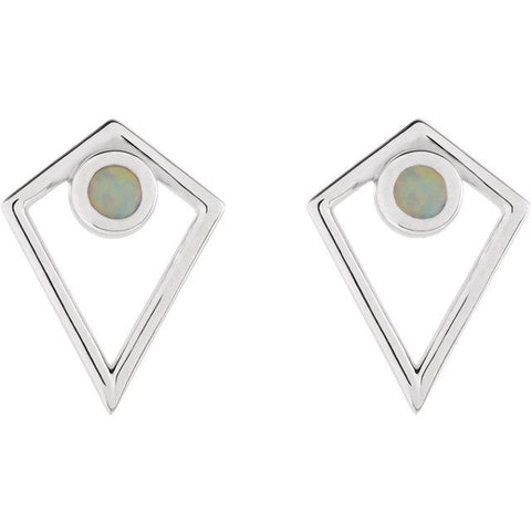 Cabochon Pyramid Earrings | Opal Cabochon Earrings | Sterling Silver Gold Earrings