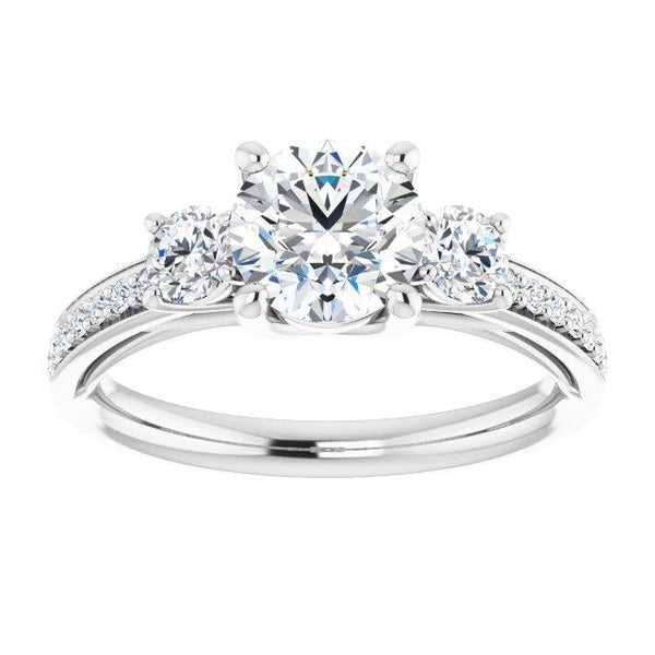 14k tri-stone Accented engagement ring