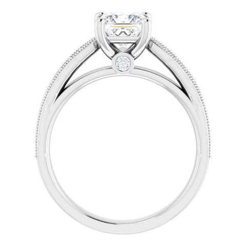 Princess-Cut Vintage Semi-Set Engagement Ring Setting