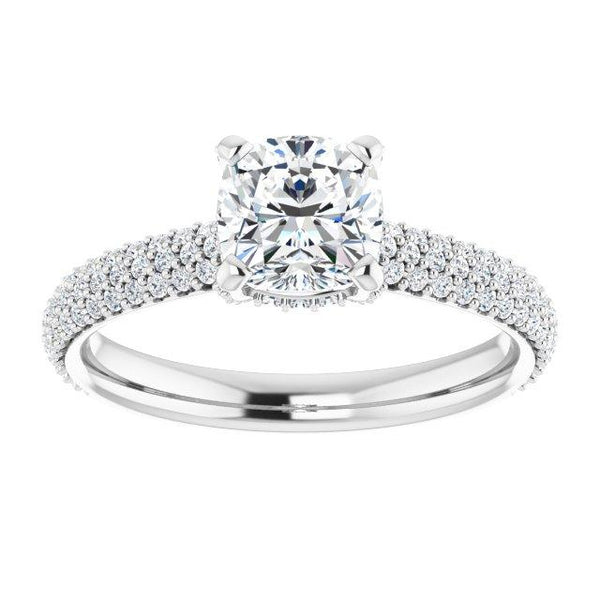 Pave Accented Cushion Engagement Ring Setting