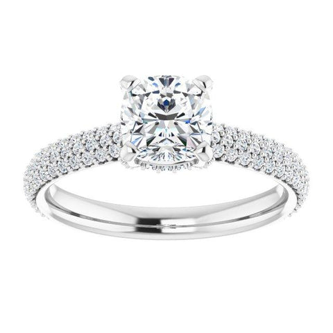 Pave Accented Cushion Engagement Ring Setting - Moijey Fine Jewelry and Diamonds