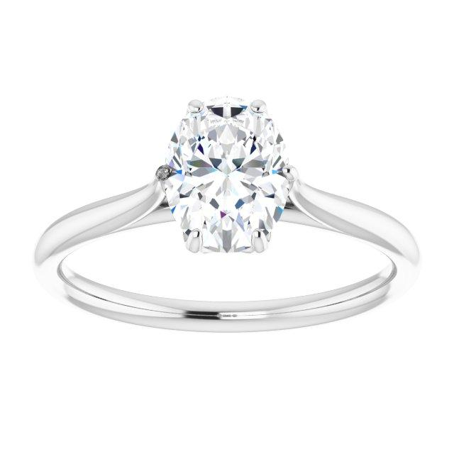 Six-Petal Solitaire Oval Engagement Ring Setting