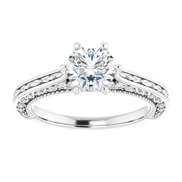 Vintage-Inspired Round Semi-Set Engagement Ring Setting