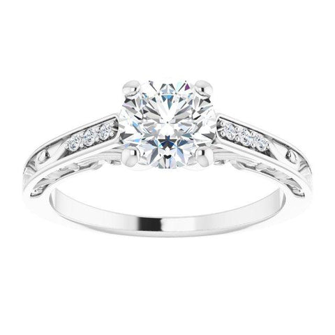 Round Vintage-Inspired Filigree Semi-Set Engagement Ring