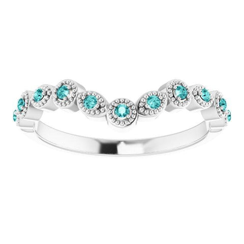 14K White Gold & Teal-Blue Diamond Vintage-Inspired Contour Wedding Band
